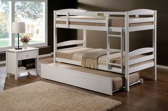 Cosmos King Single Bunk  White with Trundle Bed