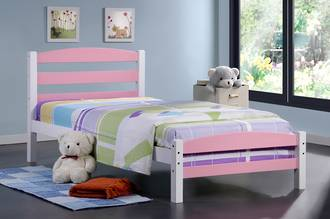 Cosmos Single Bed Frame White and Pink