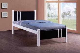 Lacos White Single Bed Frame with Black PVC Headboard