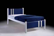 Lacos White Single Bed Frame with Blue PVC Headboard
