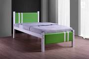 Lacos White Single Bed Frame with Lime PVC Headboard