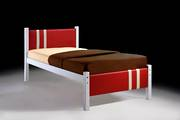 Lacos White Single Bed Frame with Red PVC Headboard